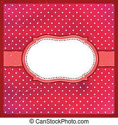 Vintage polka dot frame - Red polka dot vintage lace frame...