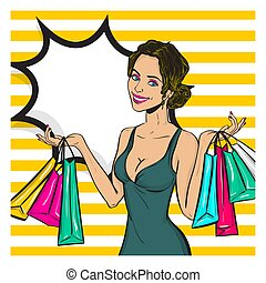 Vintage pop art girl shopping wow face