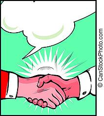 Vintage Pop art handshake background