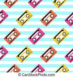 Vintage pop art music tape striped seamless pattern.