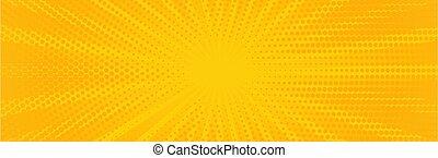 Vintage pop art yellow background. Banner vector