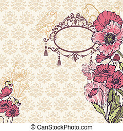 Vintage Poppy Background with place for your text - for your design, scrapbook in vector