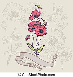 Vintage Poppy Card - with place for your text in vector