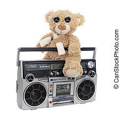 Vintage portable boom box style radio cassette player - bear .