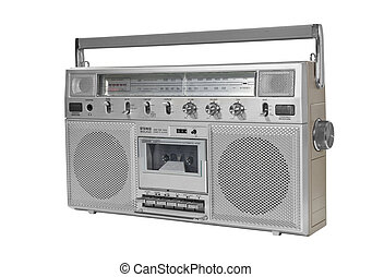 Vintage Portable Stereo Blaster Box Isolated on White