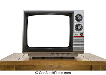 Vintage Portable Television and Table Isolated with Cut Out Screen