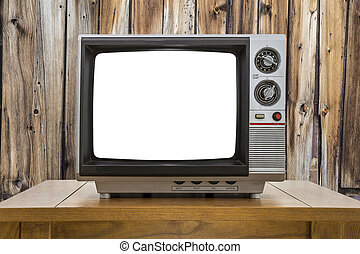 Vintage Portable Television with Cut Out Screen and Rustic Cabin Wall