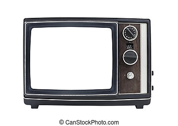 Vintage Portable Television with Empty Screen