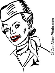 Vector illustration of a hand-drawn retro female portrait of a flight attendant smiling with a red lips.