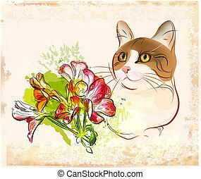 vintage portrait of  cat with flowers