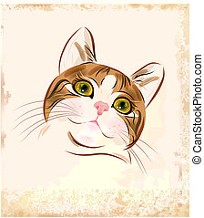 vintage portrait of ginger tabby cat