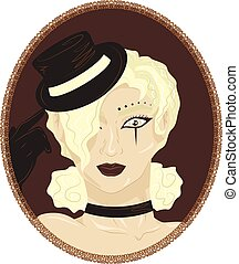 Vintage portrait of pretty blond ci