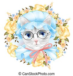 Vintage portrait of the cat with glasses and roses. Victorian style.