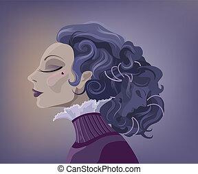 Vintage portrait - Vintage surrealistic woman portrait with...
