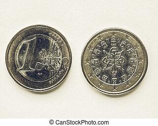 Vintage Portuguese 1 Euro coin
