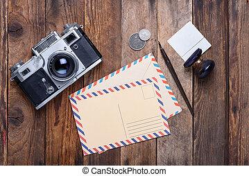 Vintage post card and envelope