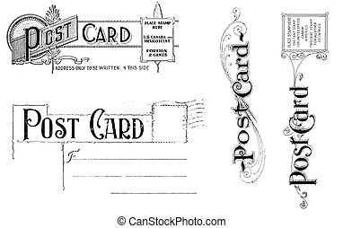 Vintage Post Card Elements - Old, distressed black and white...