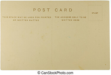Vintage post card with copy space and clipping path