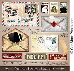 Vintage Postage Design Elements - set of various detailed ...