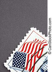 vintage postage - vintage united states postage stamp macro