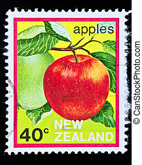 vintage postage stamp of an apple - NEW ZEALAND-circa...