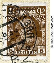Vintage postage stamp.  - Vintage postage stamp,Russia.