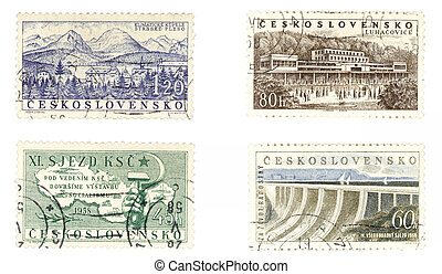 Obsolete postage stamps from Czechoslovakia. Old collectible items - leisure and hobby collection. These post stamps socialistic concepts and Czech spas.