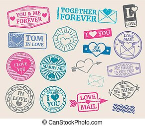 Vintage postage stamps vector set. Romantic date, love, valentines day collection