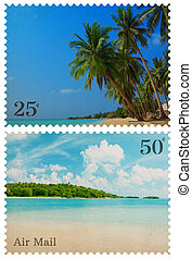 Vintage postage stamps with tropical beach and small island isolated on white