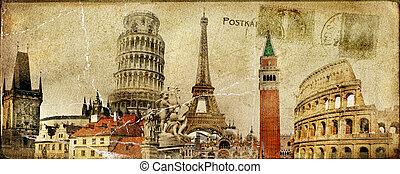 Vintage Postal Card - European Holidays