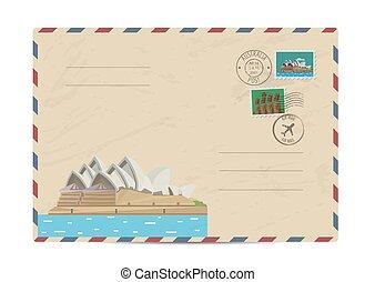 Vintage postal envelope with stamps - Australian vintage...