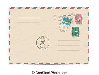 Vintage postal envelope with stamps - Blank postal envelope...