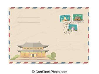 Vintage postal envelope with stamps - Chinese ancient temple...
