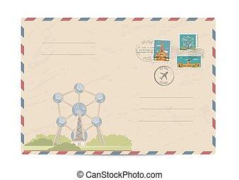 Vintage postal envelope with stamps - Modern european...
