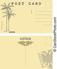 Vintage postcard Albania. Back side an old postcard.