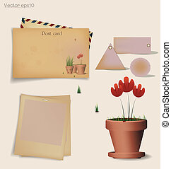 Vintage postcard and envelope with Red flower plant in clay pot. Vector illustration.