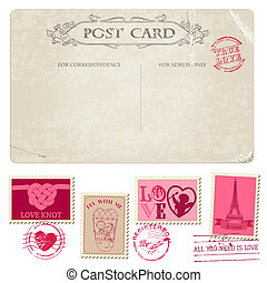 Vintage Postcard and Postage Stamps - for wedding design,...
