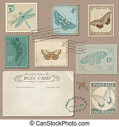Vintage Postcard and Postage Stamps with Butterflies - for wedding design, invitation, scrapbook