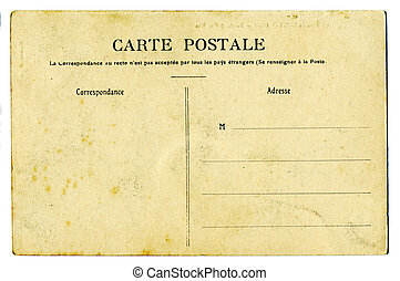 vintage postcard, blank space for text, isolated on white