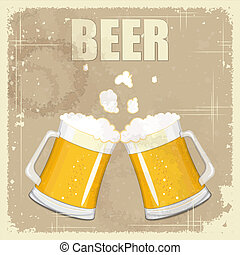Vintage postcard, cover menu - Beer - Retro style - vector...