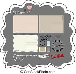 Vintage postcard designed - Vector