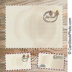 Vintage postcard designs, envelope and postage stamps. Vector EPS10