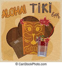 Vintage postcard - for tiki bar sign - featuring Hawaiian masks, guitars and cocktails. eps10