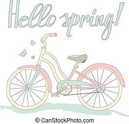 Vintage postcard Hello spring
