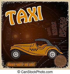 Vintage Postcard - Invitation to the trip - the image taxis