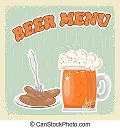 Vintage postcard of the beer menu. eps10