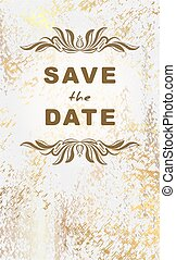 Vintage postcard save the date grunge, aged marble...
