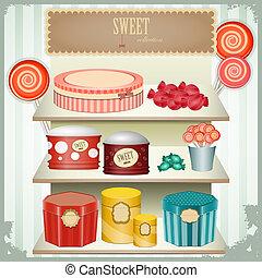 vintage postcard - shop sweets, confectionery - vintage...