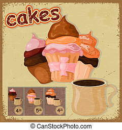 Vintage postcard - sign for a cafe - with a picture of cake and a cup of coffee. eps10