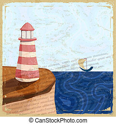 Vintage postcard with a lighthouse and a small boat.